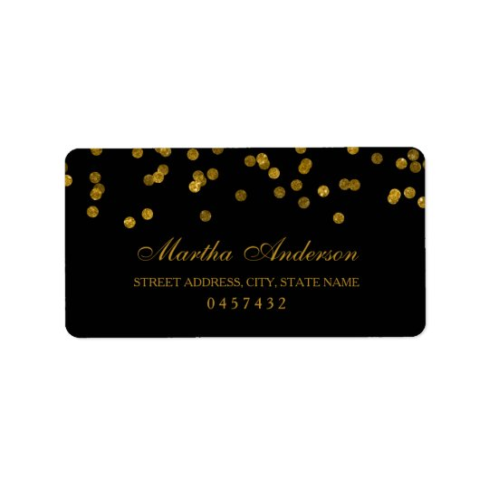 Black and Gold Confetti Address Labels