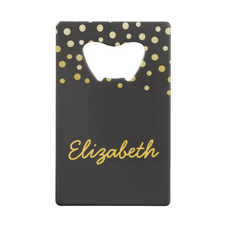 Black and Gold confetti Credit Card Bottle Opener