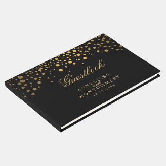 Black and Gold Confetti Dots Guest Book