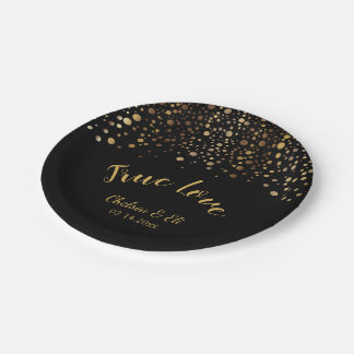 Black and Gold Confetti Dots - True Love Paper Plate