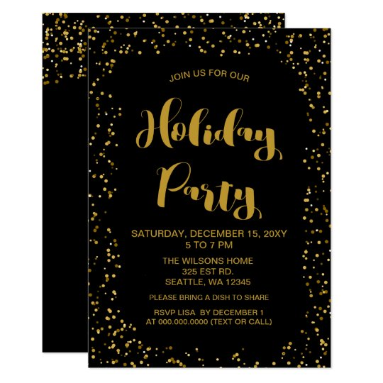 Black and Gold confetti Modern holiday Party Card
