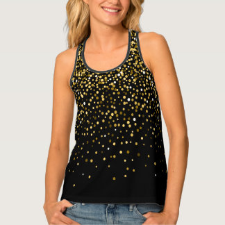Black and gold confetti tank top