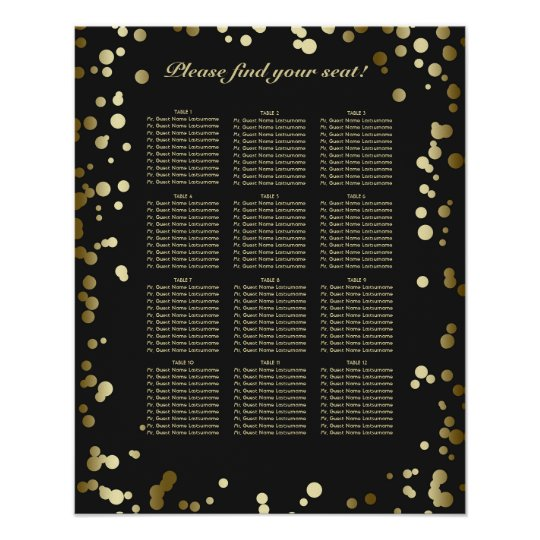 Black and Gold Confetti Wedding Seating Chart