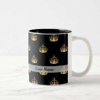 Black and gold crown pattern Two-Tone coffee mug