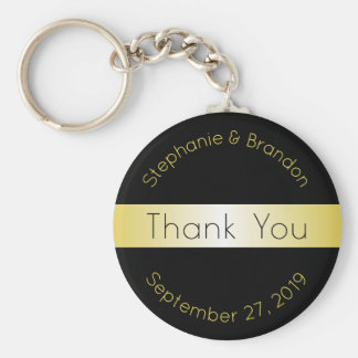 Black and Gold Custom Key Ring Wedding Favor