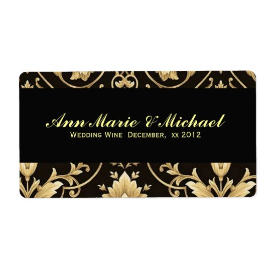 Black and Gold, Custom Wedding Wine Label Shipping Label