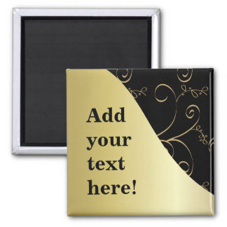 Black and Gold Customize It Square Magnet