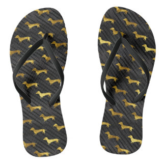 Black and Gold Dachshund Pattern Flip Flops