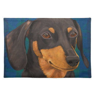 Black and Gold Dachshund Portrait on Blue Placemat