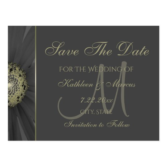 Black and Gold Daisy Monogram Save the Date Postcard