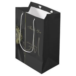 Black and Gold Daisy Monogram Thank You Medium Gift Bag
