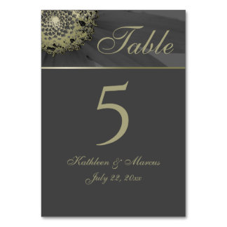 Black and Gold Daisy Monogram Wedding Card