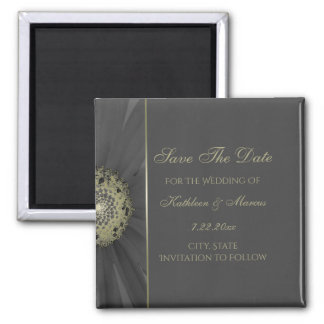 Black and Gold Daisy Save the Date Magnet