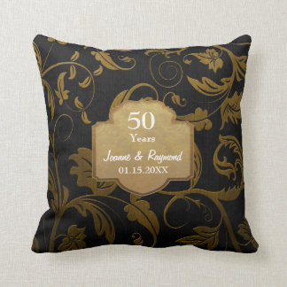 Black and Gold Damask 50th Wedding Anniversary Throw Pillow