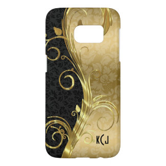 Black And Gold Damask And Gold Swirls Samsung Galaxy S7 Case