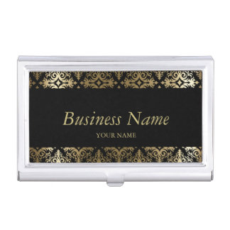 Black and Gold Damask Floral Design Business Card Holder