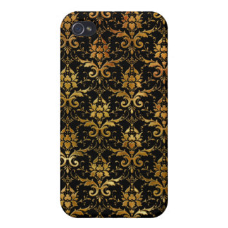 Black and Gold Damask Pattern Cases For iPhone 4