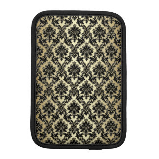 Black and Gold Damask Pattern iPad Mini Sleeve