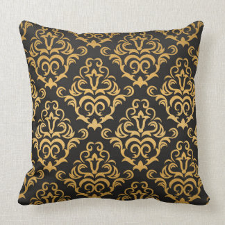 Black and Gold Damask Pattern Throw Pillow