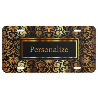 Black and Gold Damask | Personalize License Plate