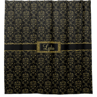 Black and Gold Damask Personalized Shower Curtain