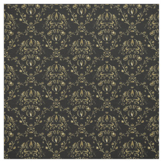 Black and Gold Damask Print Fabric