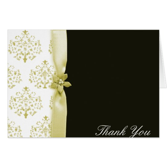 Black and gold damask wedding Thank you card