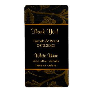 Black and Gold Damask - Wine Label  Medium