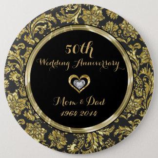 Black And Gold Damasks 50th Wedding Anniversary 2 6 Inch Round Button