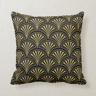 Black and Gold Deco Fan Pattern Throw Pillow
