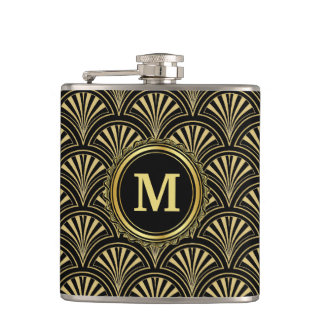 Black and Gold Deco Fans Monogram Hip Flask
