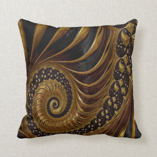 Black and Gold Decorative Swirl Design Pillow