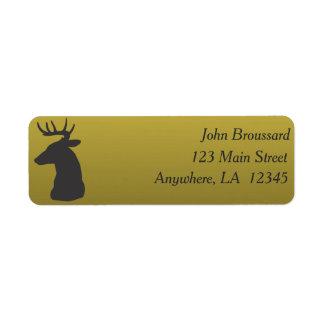 Black and Gold Deer Hunting Address Label