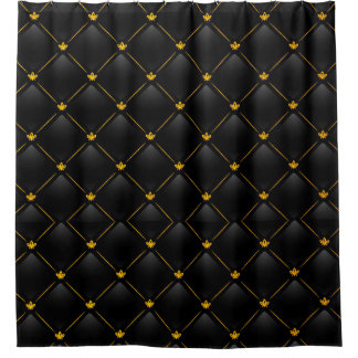 Black and Gold Design on Shower Curtain