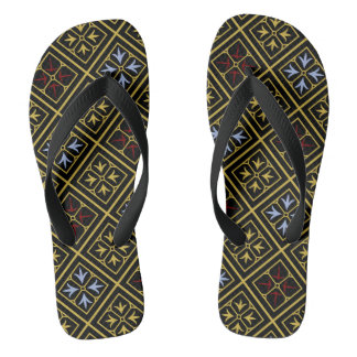 Black-and-Gold Diamond-Patterned Flip-Flops Flip Flops