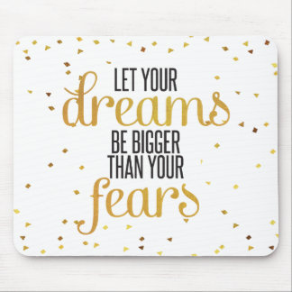 Black and Gold Dreams Inspirational Quote Mouse Pad
