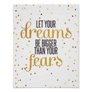 Black and Gold Dreams Inspirational Quote Poster