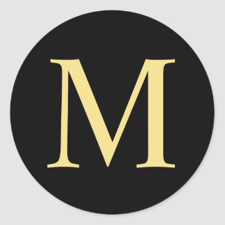 Black and Gold Elegant Monogram Classic Round Sticker