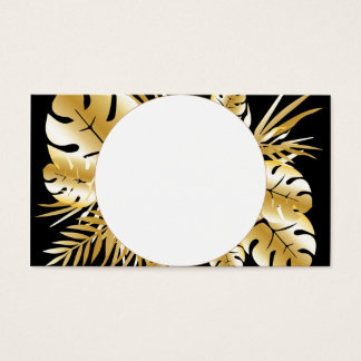 Black and gold elegant tropical leaves template business card