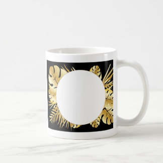 Black and gold elegant tropical leaves template coffee mug