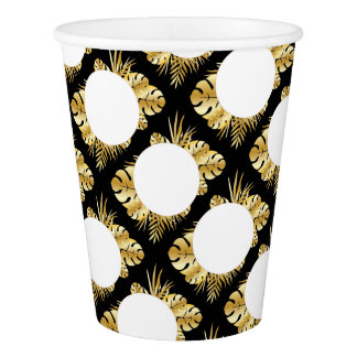Black and gold elegant tropical leaves template paper cup