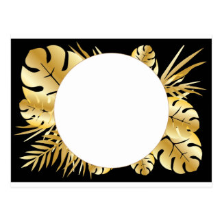 Black and gold elegant tropical leaves template postcard