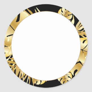 Black and gold elegant tropical leaves template round sticker