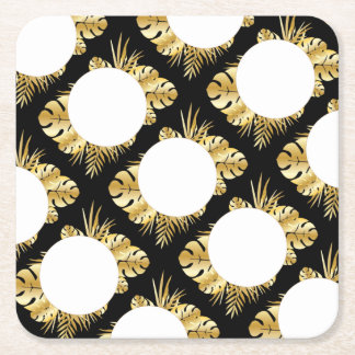 Black and gold elegant tropical leaves template square paper coaster