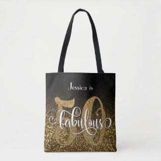 Black and Gold Faux Glitter Ombre 50 & Fabulous Tote Bag