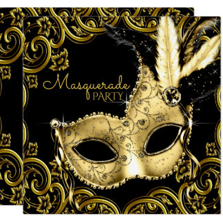 """Black and Gold Feather Mask Masquerade Party 5.25"""" Square Invitation Card"""
