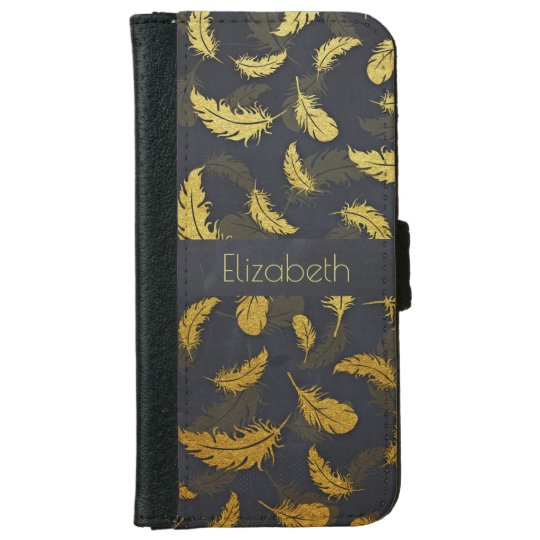 Black And Gold Feather Pattern Personalized iPhone 6 Wallet Case