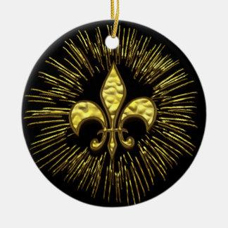Black and Gold Fleur de Lis Fireworks Ornament