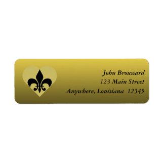 Black and Gold Fleur De Lis Heart Address Label