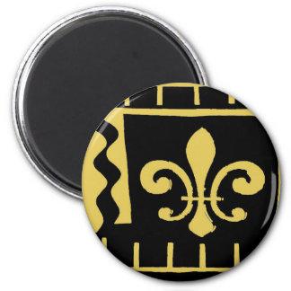 Black and Gold Fleur De Lis Matisse Style 2 Inch Round Magnet